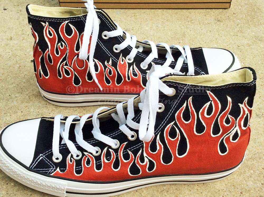 Custom Converse Shoes Red Hot Rod Flames Chuck Taylors