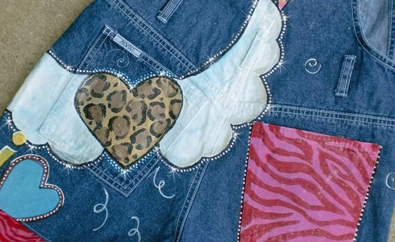 Jeans Overall Mädchen handbemalt Custom Shortalls, Tier Print Herzen, Flügel, Rosen, Kreuze, Kristalle, Christian Geist der Schule tragen, zwischen