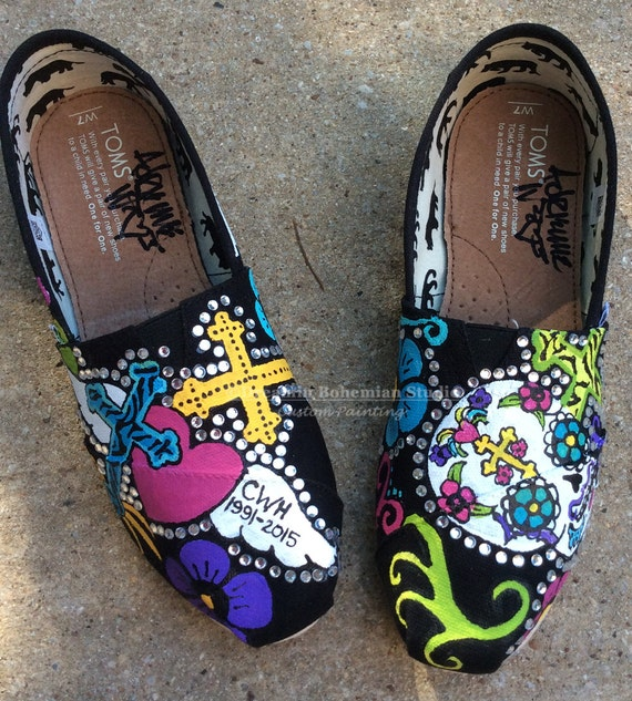 Day of the Dead Painted TOMS Shoes Sugar Skull Art on Womens  8340d2431e