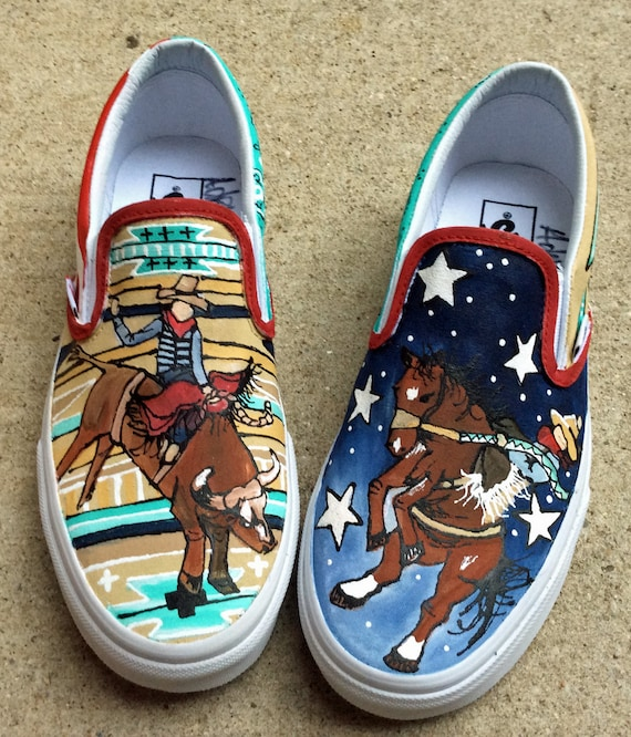 Custom VANS Hand Painted Western Rodeo Cowboy Shoes for Women, Colorful Aztec Tribal Design Slip ons for Cowgirls Americana Stars and Stripe