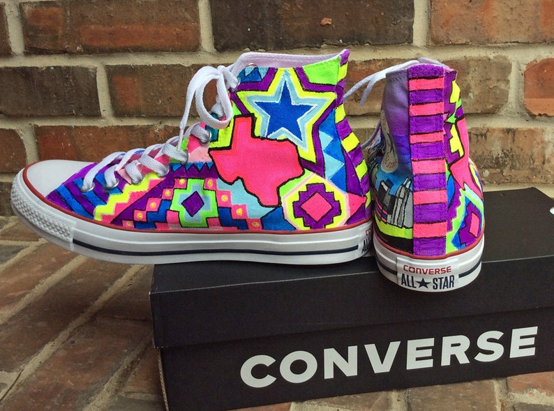 Custom Neon Painted Converse, Glow in the Dark Chucks, Hi Top Sneakers for Ravers Aztec print Texas Star and Dallas Skyline for Dance Raves
