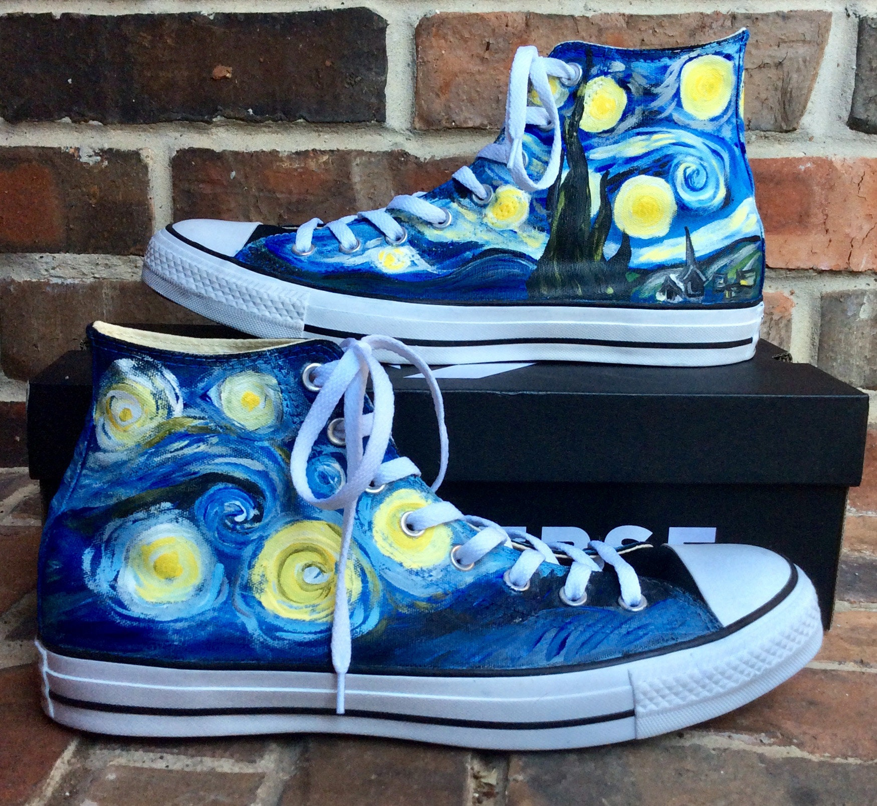b0c89cde9d95 Custom Sneakers Womens Size Starry Night Converse Handpainted