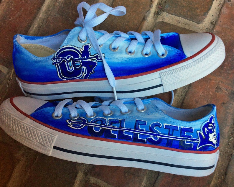 9dd16485ef6333 School Spirit Mascot Painted Converse Custom Low Top Tennis