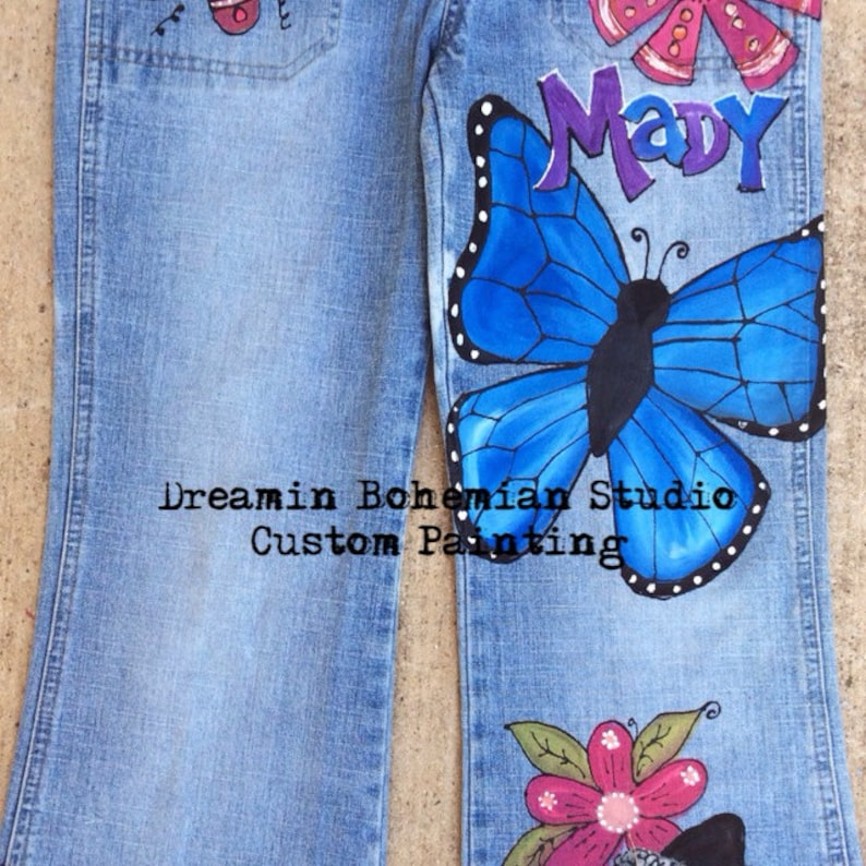 Personalized for Birthday Party Outfit Sheep 4H kid Butterflies Stockshow Flowers Denim Overalls Toddler Hand Painted Barnyard Animals
