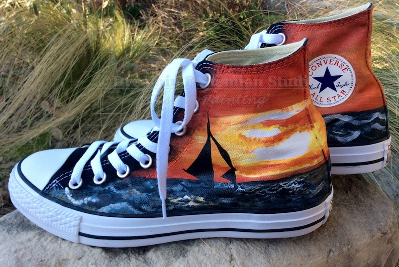 01f59c294226 Custom Sneakers Handpainted Converse with Sunset and Sailboat