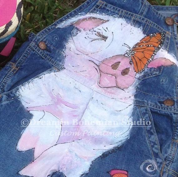 Jeans Overall Kleinkind Mädchen benutzerdefinierte handbemalt Latzhose Schwein, Kätzchen, Schmetterling, Bauernhof Tier Outfit für Baby, Geschenk von