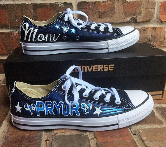 489d2ccf498a9 Custom Converse Low Top Shoes Hand Painted Boy Mom Chucks with Kids Names  Personalized Shoe for PTA or PTO Parent, Gift for Wife, Mothers
