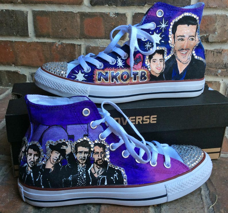 Boy Band Painted Converse High Tops Custom Painted Shoes for  49294eb9d