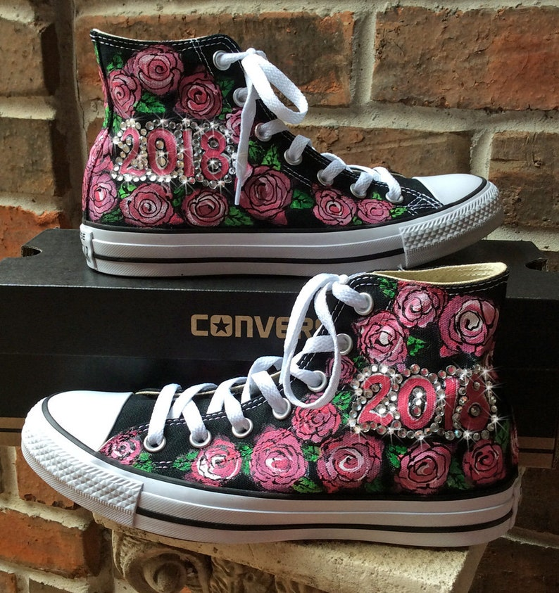 384dcde8776e Converse Hi Top Shoes with Roses Prom or Graduation 2018 Chuck