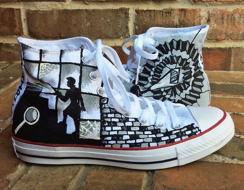 fa90bd3a085623 Nancy Drew Custom Painted Converse Sneakers Black and White