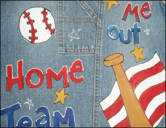 Jeans Overall Kleinkind Jungen Baseball Geburtstagsparty, rot weiß blau bemalte Latzhose, Baseballstadion Kleidung, Geschenk von Oma, Papa, spielen