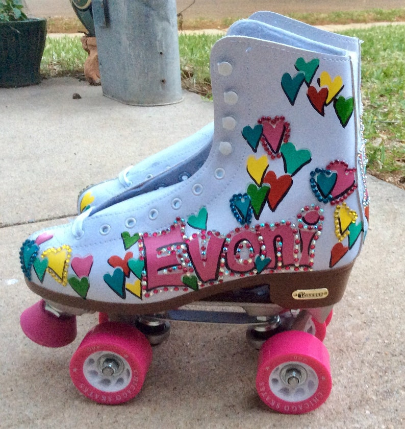 Roller Skates, Roller Derby, Personalized Hand Painted Skates in Adult  Sizes, Colorful Rainbow, Name, Crystal Bling, Teen Age Girl Gift