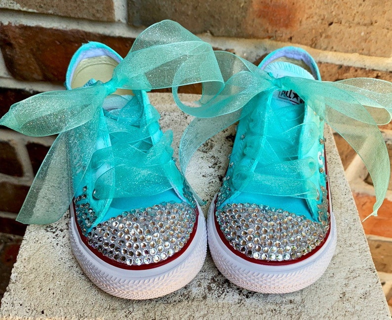 0095f821e77a5 Custom Sneakers Youth size with ribbon laces HandPainted Aqua Ombre Chucks,  Painted Converse Low Tops, Mermaid Fairy Princess Birthday Girl