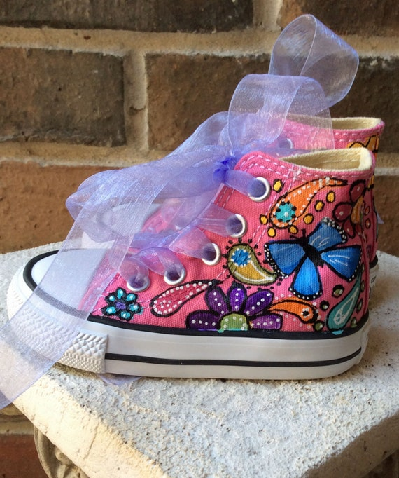 Custom Sneakers Youth Sizes with Ribbon Laces Hand Painted Converse Chuck Taylor Butterfly Paisley Garden Bohemian Wedding Flower Girl Shoes