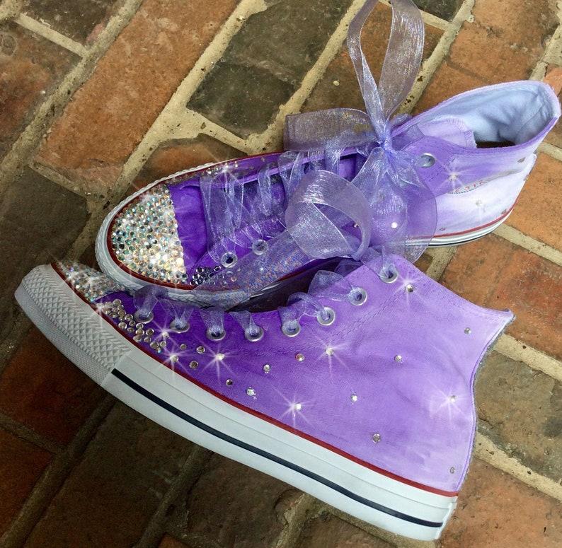 Custom Sneakers Hand Painted Converse Hi Tops Violet to  66fddb2898