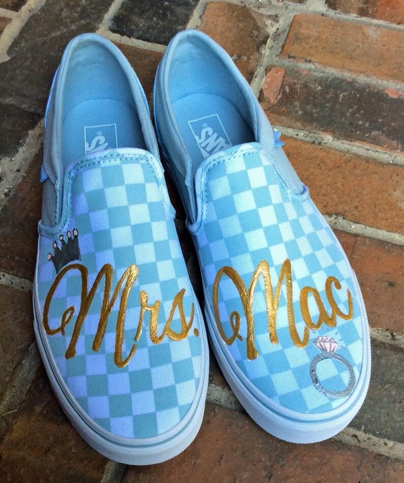 4b40e15051 Vans Slip on Sneakers Hand Painted Wedding Vans Baby Blue