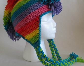 Rainbow Mohawk Hat PDF Crochet Pattern