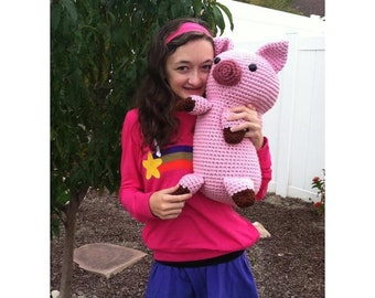 Crocheted Pig Pillow Plus Amigurumi Pig PDF Pattern