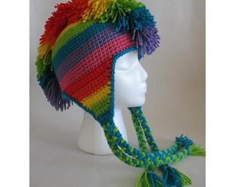 Rainbow Mohawk Hat PDF Crochet Pattern