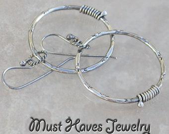 Textured Metalwork silver Hoop Earrings