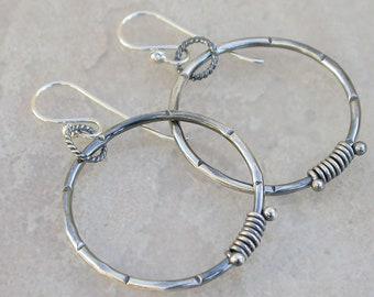 Rustic Metalwork silver Hoop Earrings