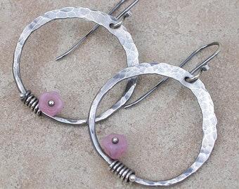 Silver Hoop Earrings,  hammered hoop