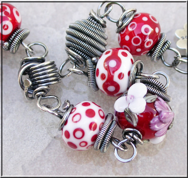 Holiday Red  Lampwork and  silver wire wrapped Bracelet image 0