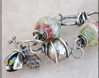 Watermelon Lampwork and silver wire wrapped link bracelet, peach and green  Lampwork Bracelet
