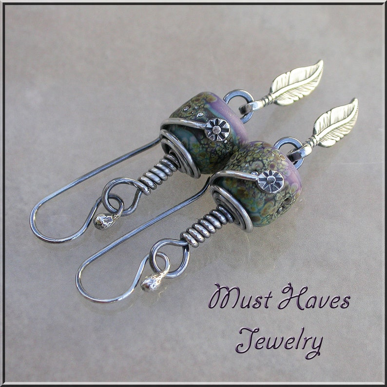 Silver Feather lampwork dangle earrings image 0