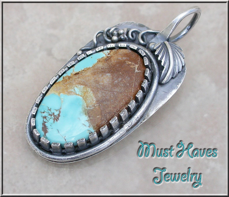 Turquoise Roystron Ribbon and silver Leaf Pendant image 0
