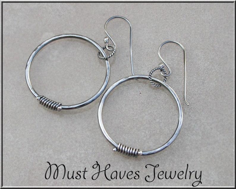 Hammered Metalwork silver Hoop Earrings image 0