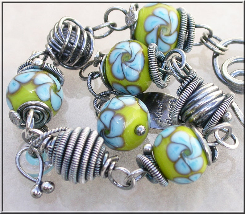 Summer floral turquoise and  sunny yellow  Lampwork and silver image 0