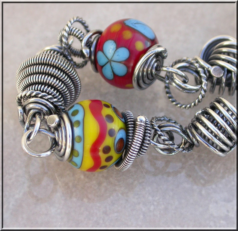 Bright Crayon colors  Lampwork and silver wire wrapped image 0