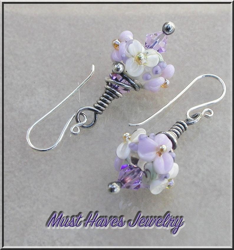 Purple Violet  floral lampwork drop earrings image 0