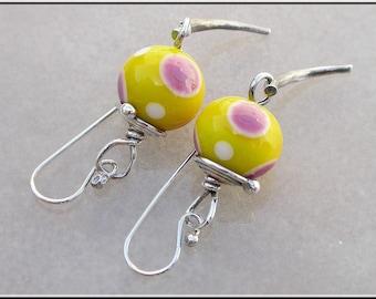 Lemon Yellow Lampwork dangle silver earrings