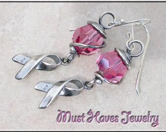 Awareness Pink crystal  dangle earrings