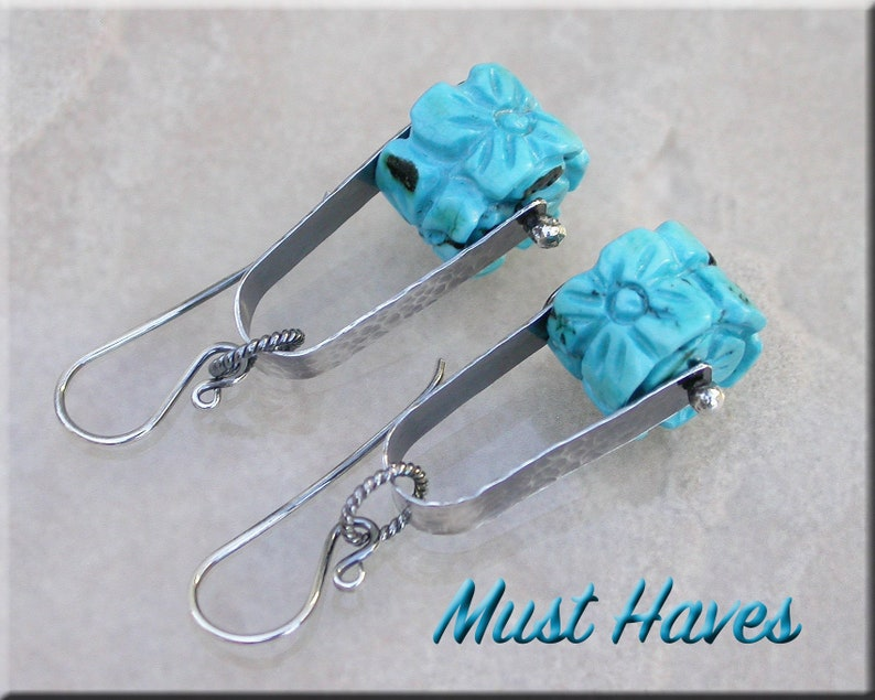 Carved Floral Turquoise  and silver dangle earrings image 0