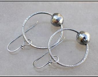 Textured  silver Hoop Earrings,   bead hoops,  silver hoop earrings