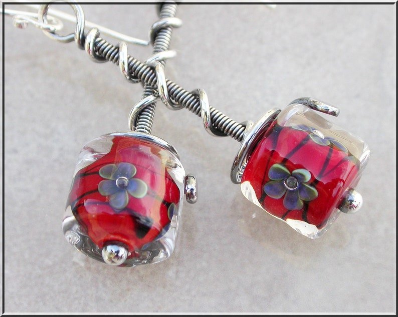 Ruby Red floral  lampwork  and silver dangle earrings image 0