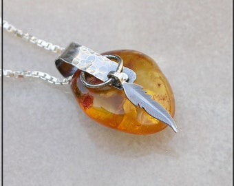 Rustic Baltic Amber and hammered silver necklace