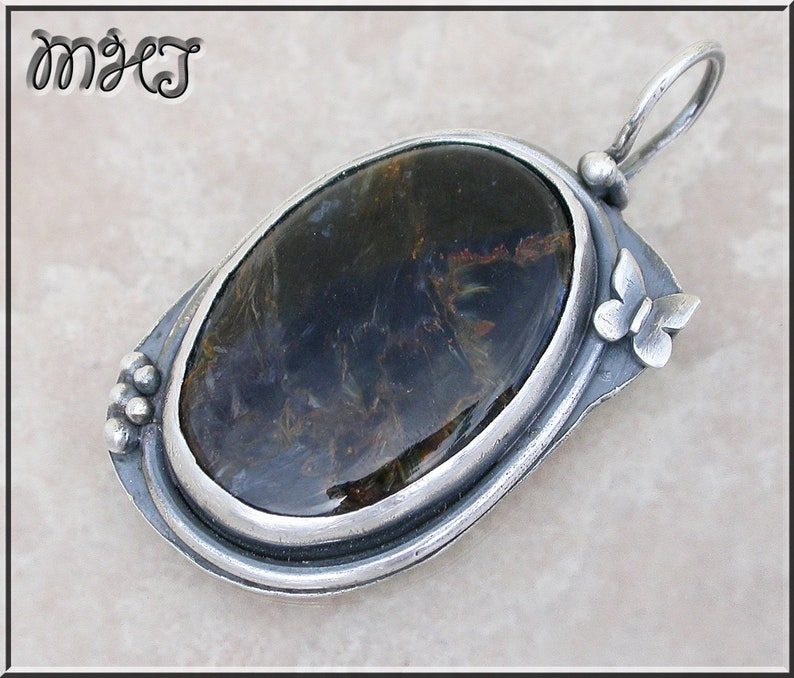 Pietersite stone Pendant .925 sterling silver  butterfly image 0