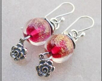 Cherry Pink lampwork dangle earrings,  Hot pink earrings