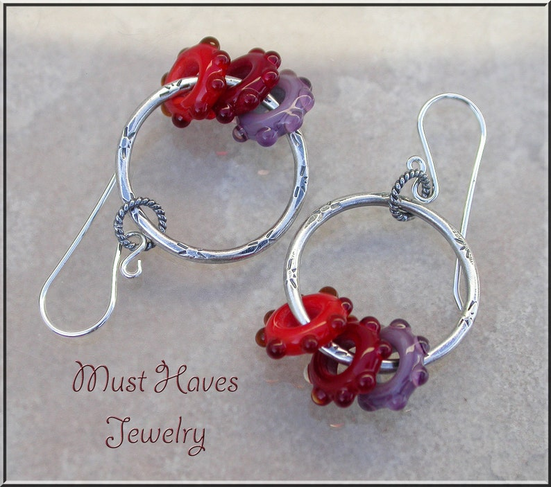 Sunset lampwork textured Hoop earrings image 0