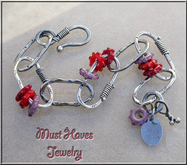 Metalwork Freeform red lampwork and silver link layering image 0