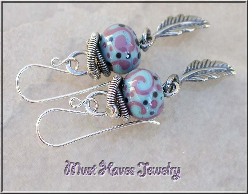 Turquoise and purple silver feather lampwork dangle earrings image 0