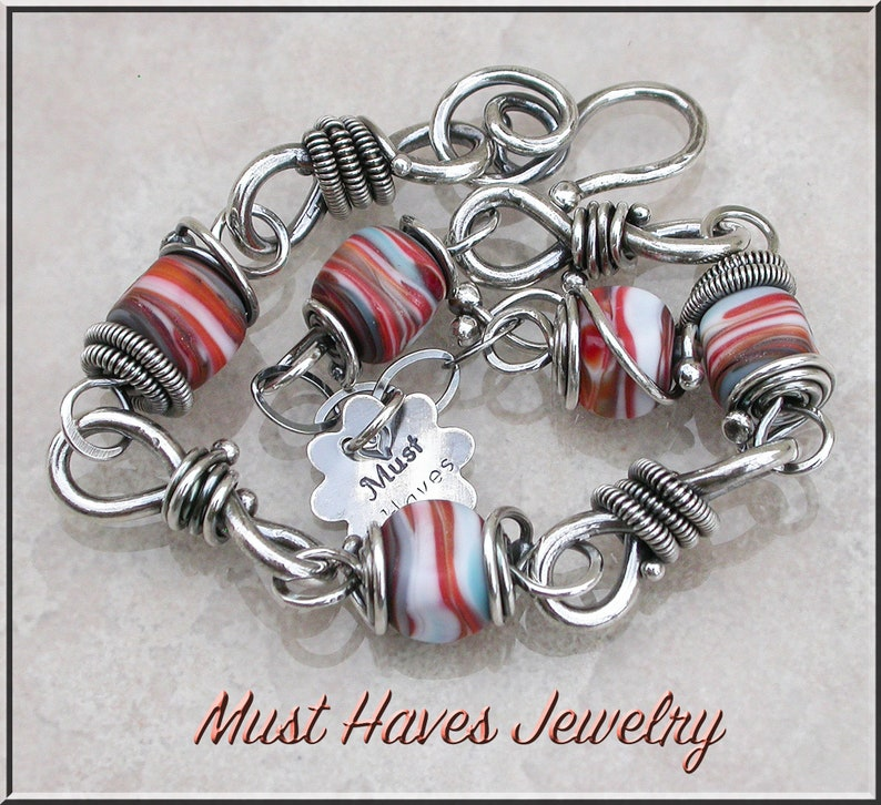 Southwest sunset  Lampwork and silver wire wrapped  bracelet image 0
