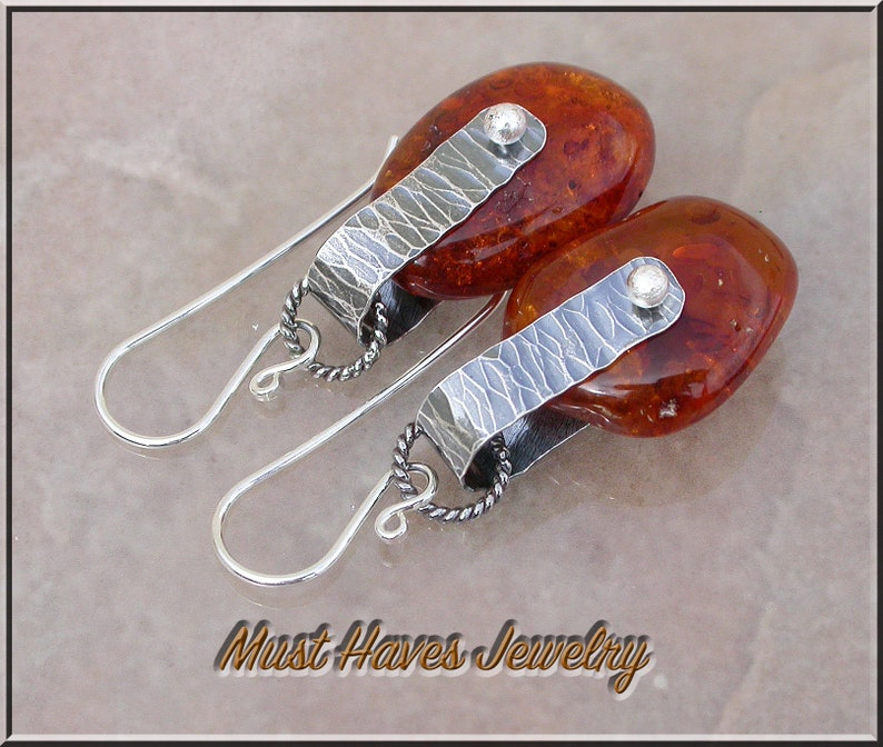 Caged Baltic Amber and silver dangle earrings image 0