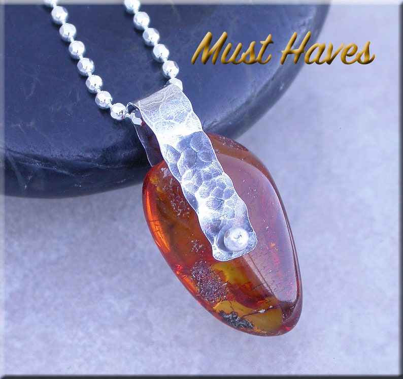 Rustic Baltic Amber and hammered silver necklace 2 image 0