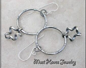 Twisted Metalwork silver Hoop Earrings