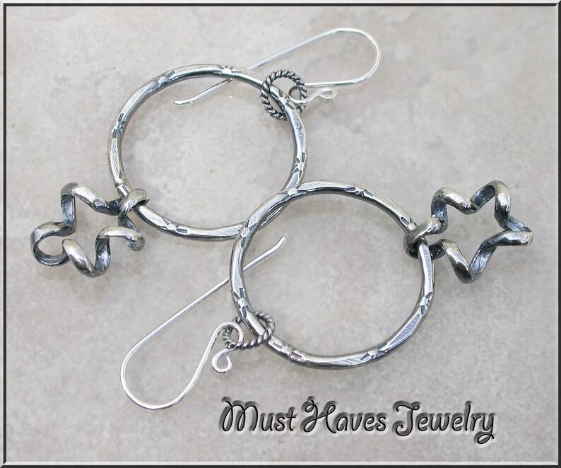 Twisted Metalwork silver Hoop Earrings image 0